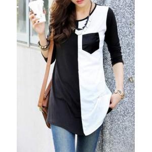 Casual Women s Scoop Neck Color Block 34 Sleeve TShirt black white Casual Women s Scoop Neck