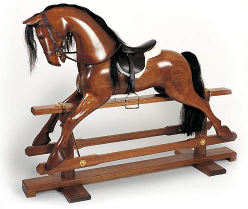 Polished Wood Rocking Horse