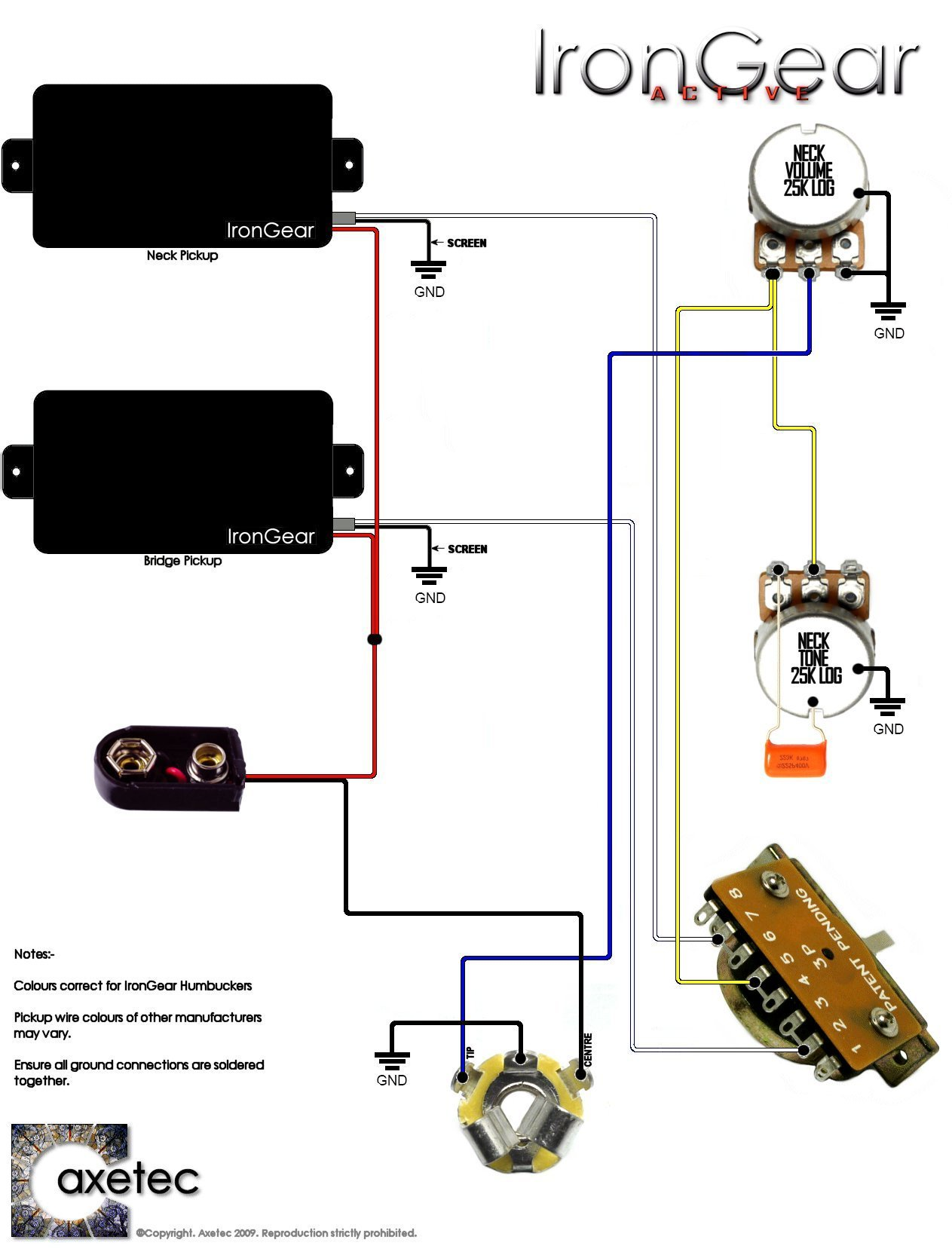 double humbucker wiring diagram typical thermostat irongear pickups 2 x active humbuckers 1 volume tone 3 way blade selector
