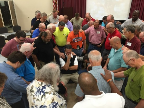 IronMen praying for Mayor Randy Toms