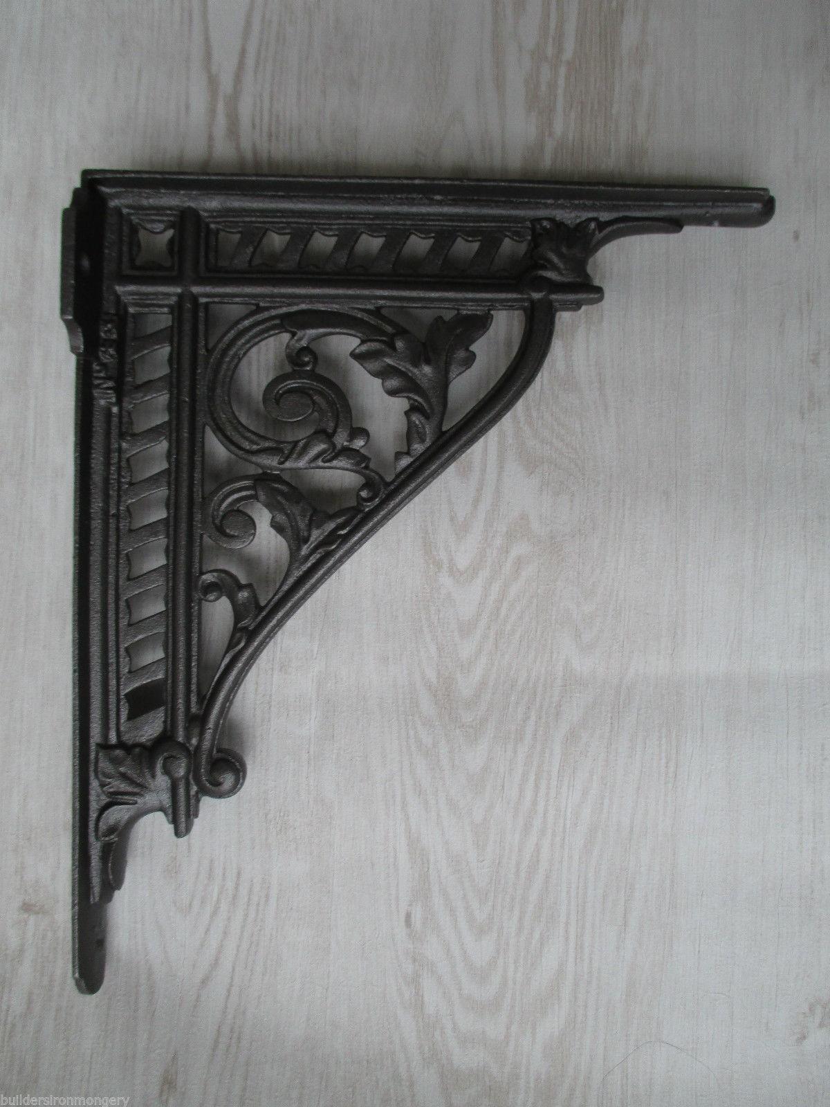 PAIR of large 12 cast iron shelf bracket wall mounted