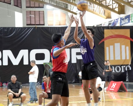 UA 3x3 basketball participant showcases the skills he acquired from his experience at the clinic by shooting a 3-pointer