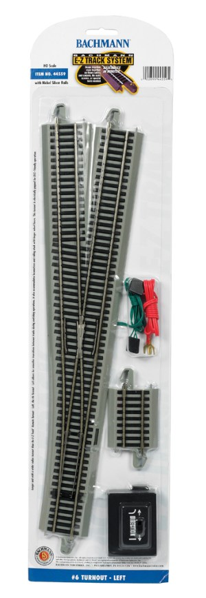 Bachmann E-Z Track #6 Turnout – Left – HO Scale 44559