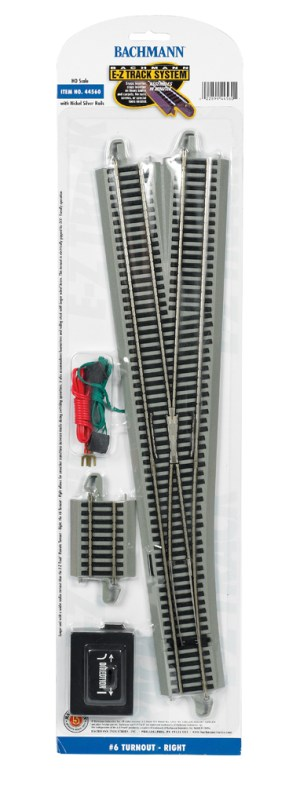 Bachmann E-Z Track #6 Turnout – Right – HO Scale 44560
