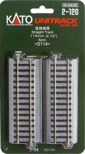 Kato HO UniTrack 114mm 4 1/2 Inch Straight 4pcs 2-120