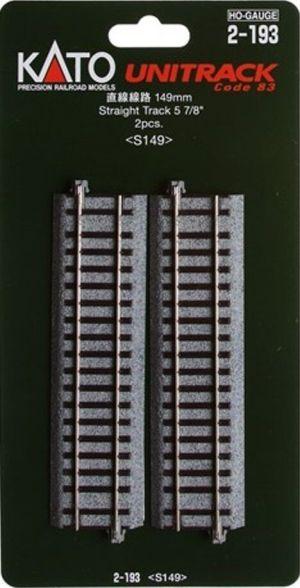 Kato HO UniTrack 149mm 5 7/8 Inch Straight Track 2 pcs 2-193