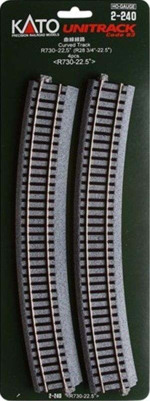 Kato HO UniTrack 730mm 28 3/4 Inch (22.5) Radius Curved Track 4 pcs 2-240