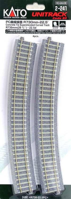 Kato HO UniTrack 730mm 28 3/4 Inch (22.5) Radius Curved Concrete Tie Track 4 pcs 2-241