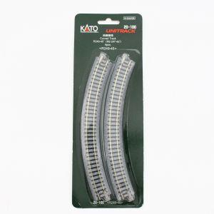 Kato N UniTrack 249mm 9 3/4″ Radius 45º Curve Track (4 pcs) 20-100