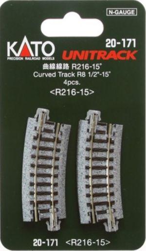 Kato N UniTrack 216mm 8 9/16″ Radius 15º Curve Track (4 pcs) 20-171