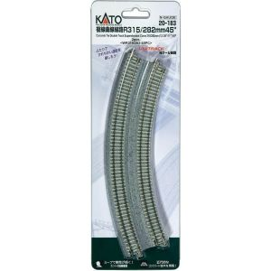Kato N UniTrack 315/282mm 12 3/8 & 11″ Radius 45º Double Curve Superelevated Concrete Tie Track (2 pcs) 20-183