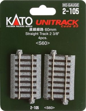 Kato HO UniTrack 60mm 2 3/8 Inch Straight 4pcs 2-105