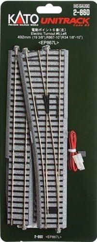 Kato HO UniTrack #6 492mm 19 3/8″ (867mm 34 1/8″ Radius) Left Hand Electric Switch Turnout (1 pc) 2-860