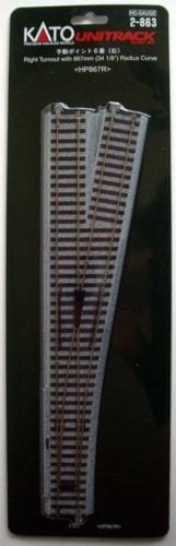 Kato HO UniTrack #6 492mm 19 3/8″ (867mm 34 1/8″ Radius) Right Hand Manual Switch Turnout (1 pc) 2-863