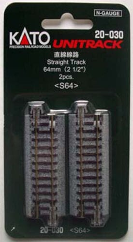 Kato N UniTrack 64mm 2 1/2″ Straight Track S64 (2 pcs) 20-030