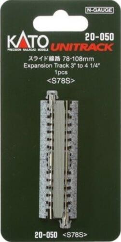 Kato N UniTrack 78mm – 108mm 3 – 4 1/4″ Expansion Track (1 pc) 20-050