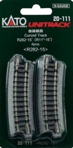 Kato N UniTrack 282mm 11″ Radius 15º Curve Track (4 pcs) 20-111