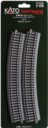Kato HO UniTrack 670mm 26 3/8 Inch (22.5) Radius Curved Track 4 pcs 2-230
