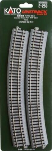Kato HO UniTrack 790mm 31 1/8 Inch (22.5) Radius Curved Track 4 pcs 2-250