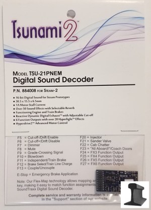 Soundtraxx Tsunami 2 ~ TSU-21 Pin NEM (Steam-2) Sound Decoder ~ 884008