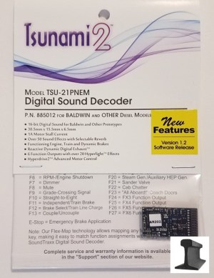 Soundtraxx Tsunami 2 ~ TSU-21 Pin NEM Baldwin & Other Diesel Sound Decoder ~ 885012