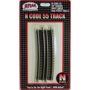 Atlas N Scale Code 55 Track 20″ Radius 1/2 Curve (6 Pieces) 2027