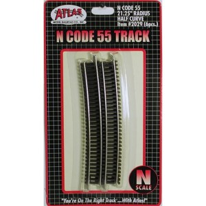 Atlas N Scale Code 55 Track 21.25″ Radius 1/2 Curve (6 Pieces) 2029