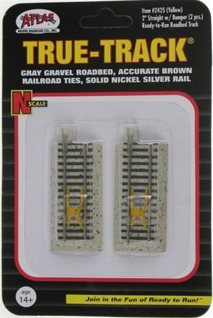 Atlas N Scale Code 65 True-Track 2″ Straight With Yellow Bumper (2 pcs) 2425