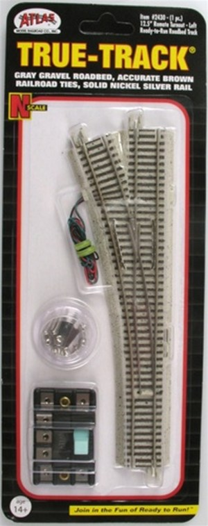 Atlas N Scale Code 65 True-Track Left Hand Turnout 12.5 Radius 2430