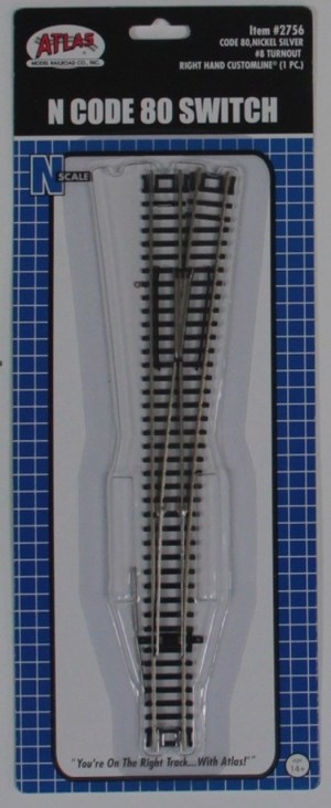 Atlas N Scale Code 80 Custom Line Manual #8 Right Hand Turnout 2756