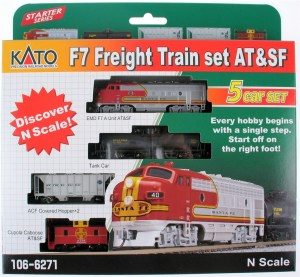 Kato N Scale F-7 Freight Train Set With Santa Fe F-7 A-Unit, Tank Car, Two Hoppers and Caboose 1066271