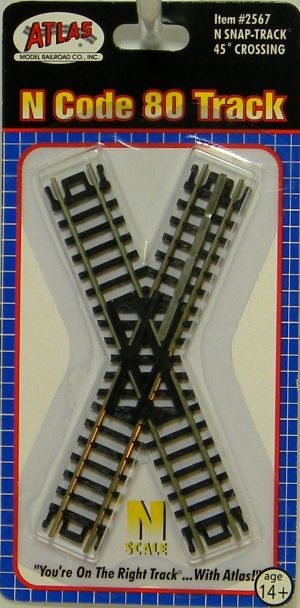 Atlas N Scale Code 80 Track 45 Degree Crossing 2567