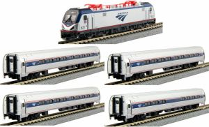 Kato N Scale Amtrak ACS-64 Amfleet I Phase VI Bookcase (5 pcs) 1068001