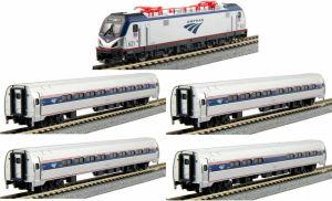Kato N Scale Amtrak ACS-64 Amfleet I Phase VI Bookcase (5 pcs) 1068001