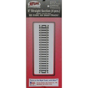 Atlas HO Code 100 6″ Straight Snap Track (4 pc) 822