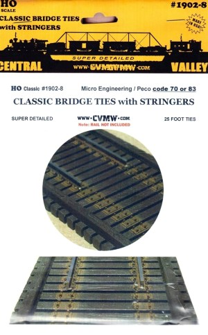 Central Valley Model Works HO Classic Bridge Ties W/Stringers Code 70/83 1902-8