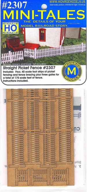 Monroe Models HO Mini-Tales Straight Picket Fence Laser Kit #2307