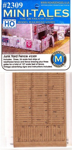 Monroe Models HO Mini-Tales Junk Yard Fence Laser Kit #2309
