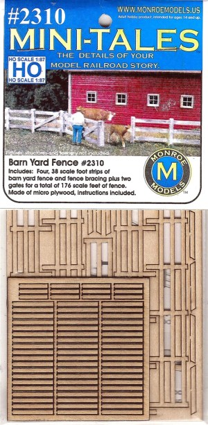 Monroe Models HO Barn Yard Yard Fence Laser Kit #2310