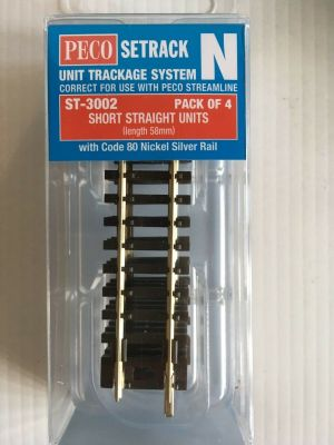 Peco N Scale Short Straight Track ~ 4 Pieces ~ 58mm ~ Setrack ST-3002