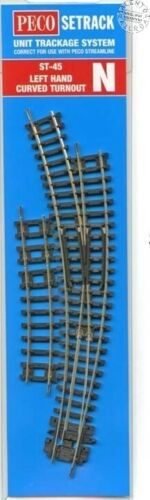 Peco N Scale Left Hand Curved Turnout Insulfrog Code 80 ~ Setrack ST-45