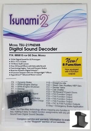 Soundtraxx Tsunami 2 DCC Sound GE ~ 21 Pin ~ 8 Function ~ 885810