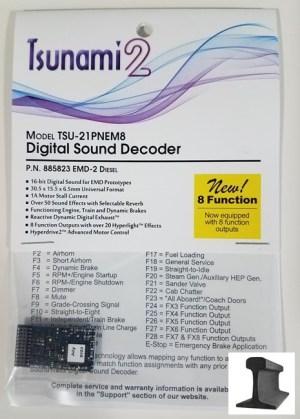 Soundtraxx Tsunami 2 DCC Sound EMD-2 ~ 21 Pin ~ 8 Function ~ 885823