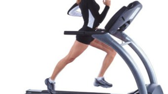 Blonde running on the treadmill