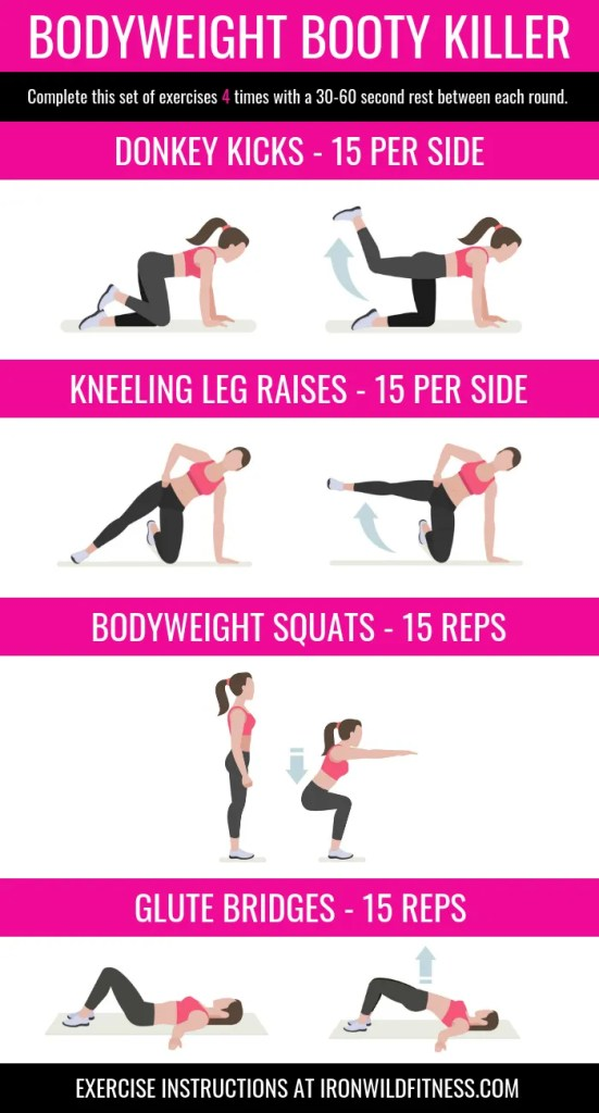 Bodyweight booty workout - a killer workout! I call this the bodyweight booty killer because you don't need equipment. No equipment, do anywhere home workout for your glutes.