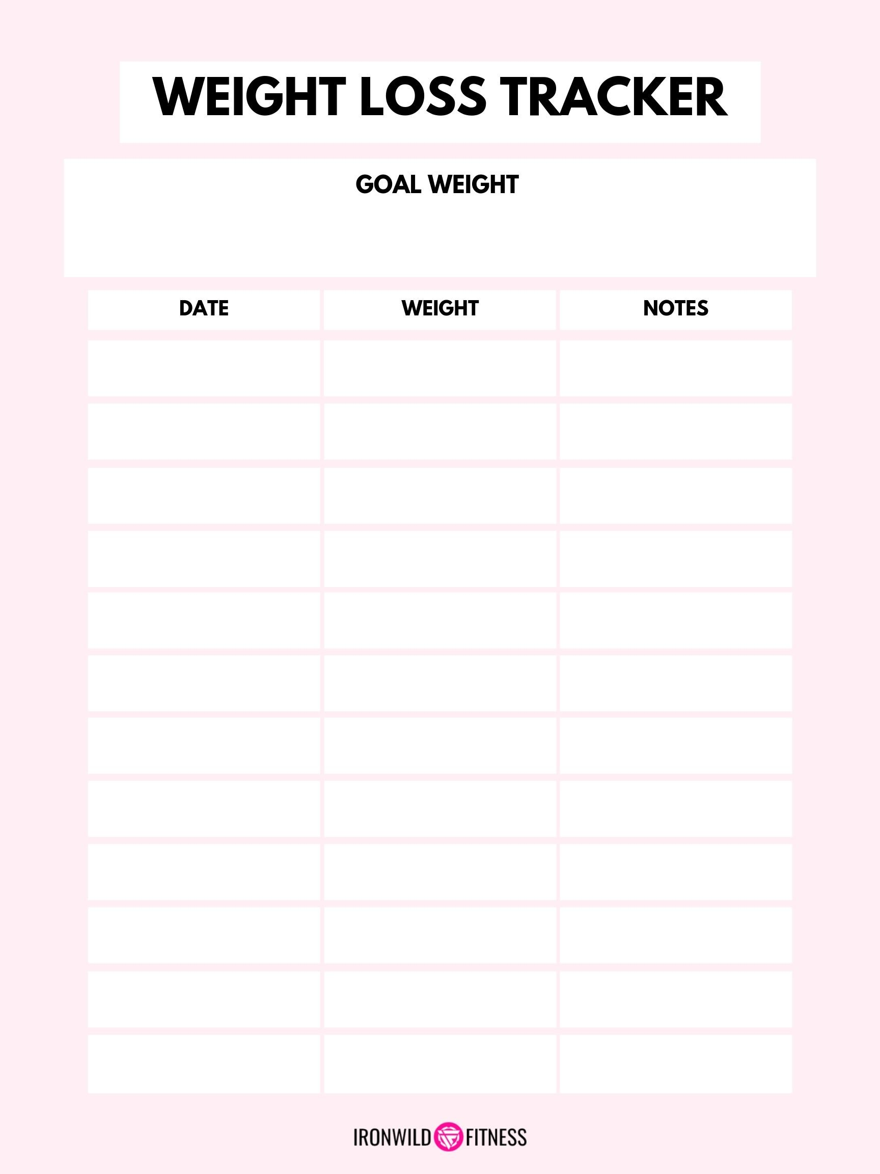 image regarding Free Printable Weight Loss Tracker named Free of charge Printable Weekly Fat Decline Tracker (+ Weigh-Within