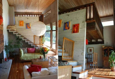 Small Tropical House Interior Sunroom Designs With Wooden Wall And