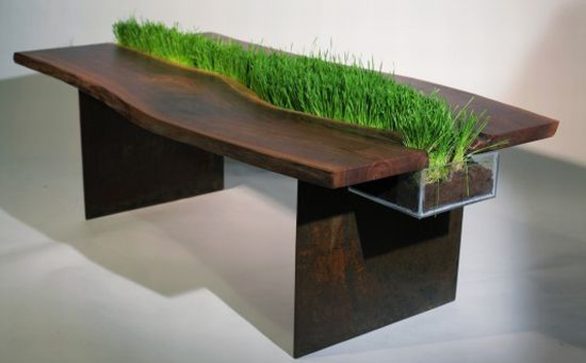 wooden table with planter integration  Irooniecom