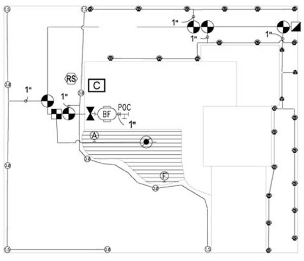 lawn irrigation system layout diagram