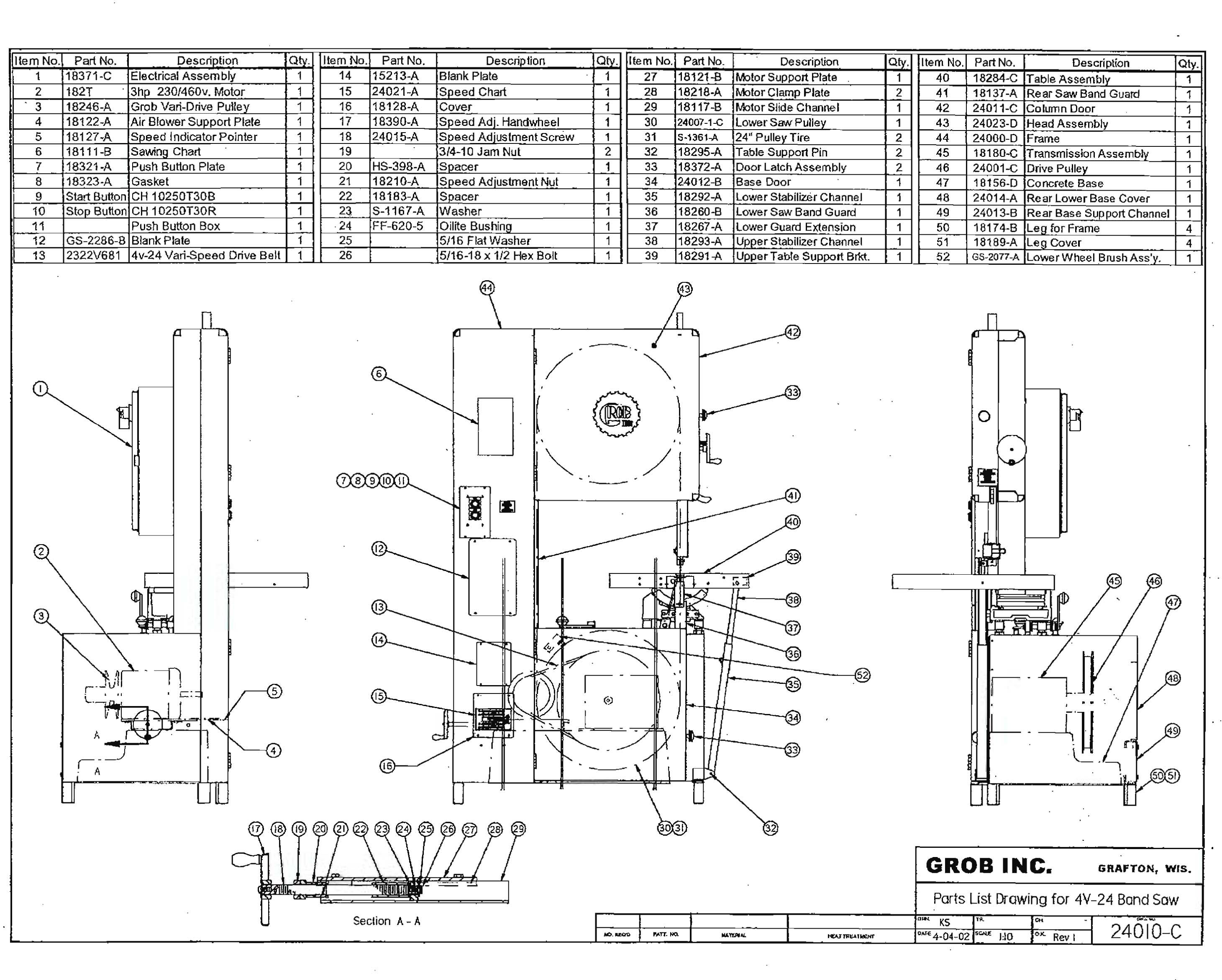 3 Phase Diagram Wiring Grob Inc Grob 4v 24 24 Quot Throat Band Saw Band Saws